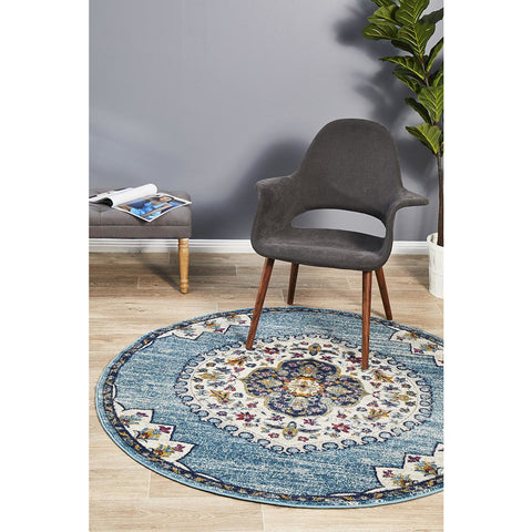 Selje 602 Blue Transitional Bohemian Inspired Round Rug - Rugs Of Beauty - 1