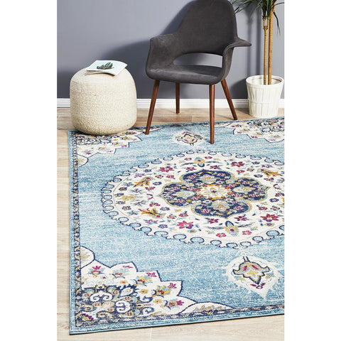 Selje 602 Blue Transitional Bohemian Inspired Rug - Rugs Of Beauty - 1