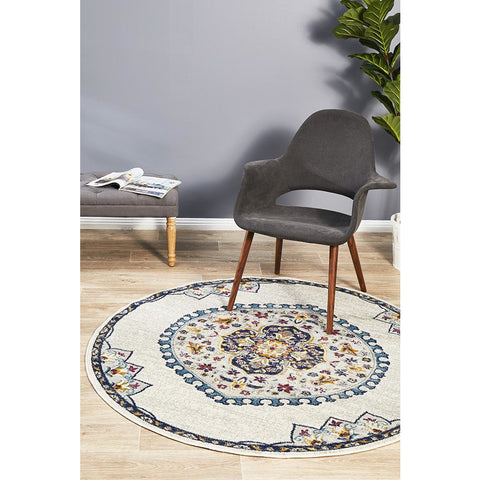 Selje 602 Cream Multi Coloured Transitional Bohemian Inspired Round Rug - Rugs Of Beauty - 1