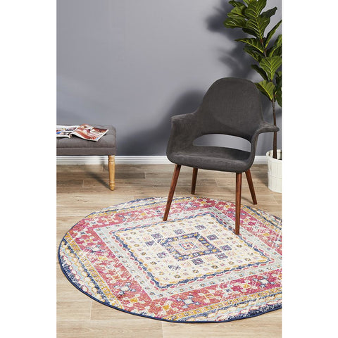 Selje 603 Red Blue Multi Colour Transitional Bohemian Inspired Round Rug - Rugs Of Beauty - 1