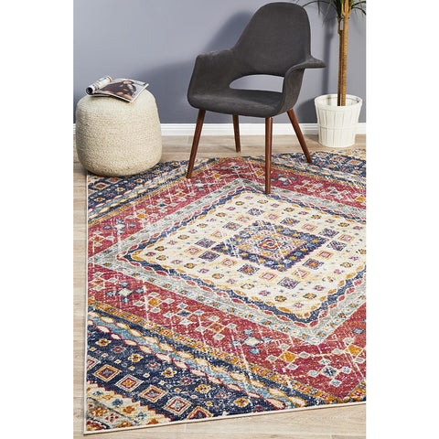 Selje 603 Red Blue Multi Colour Transitional Bohemian Inspired Rug - Rugs Of Beauty - 1