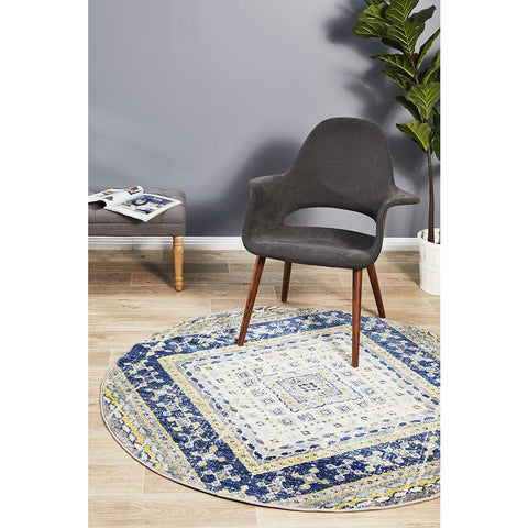 Selje 603 Navy Blue Transitional Bohemian Inspired Round Rug - Rugs Of Beauty - 1