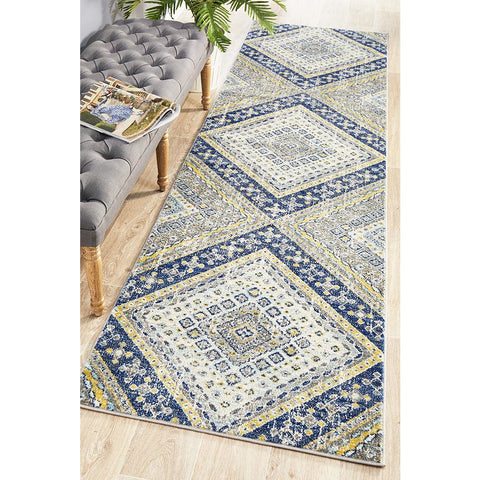 Selje 603 Navy Blue Transitional Bohemian Inspired Runner Rug - Rugs Of Beauty - 1