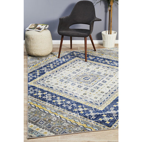 Selje 603 Navy Blue Transitional Bohemian Inspired Rug - Rugs Of Beauty - 1