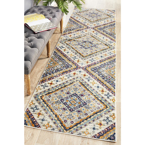 Selje 603 Cream Multi Colour Transitional Bohemian Inspired Runner Rug - Rugs Of Beauty - 1