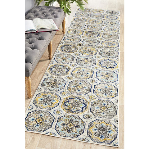 Selje 604 Blue Transitional Bohemian Inspired Runner Rug - Rug Of Beauty - 1