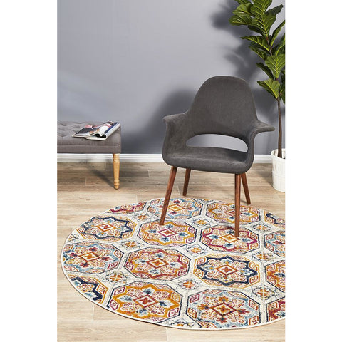 Selje 604 Multi Colour Transitional Bohemian Inspired Round Rug - Rugs Of Beauty - 1