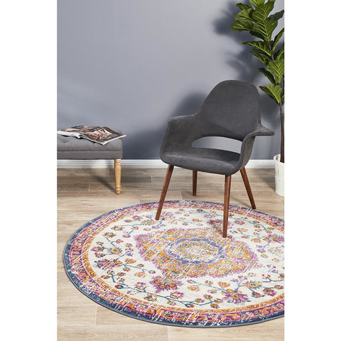 Selje 605 Rust Pink Beige Transitional Bohemian Inspired Round Rug - Rugs Of Beauty - 1