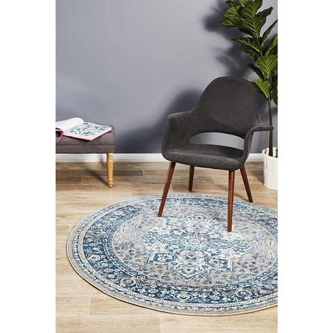 Selje 607 Blue Transitional Bohemian Inspired Round Rug - Rugs Of Beauty - 1