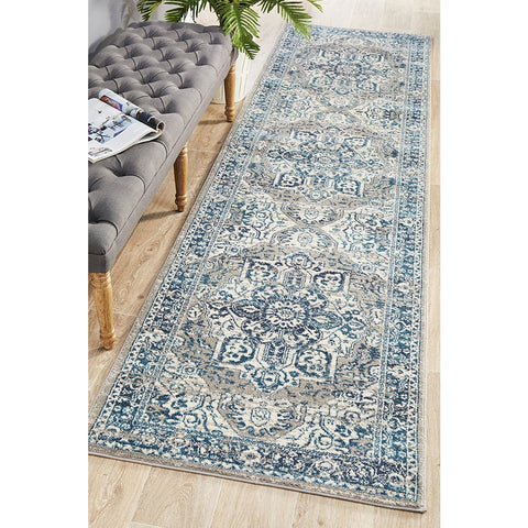 Selje 607 Blue Transitional Bohemian Inspired Runner Rug - Rugs Of Beauty - 1