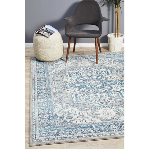 Selje 607 Blue Transitional Bohemian Inspired Rug - Rugs Of Beauty - 1