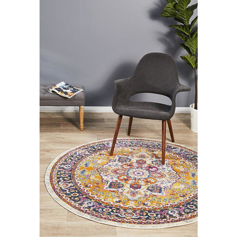 Selje 607 Rust Multi Colour Transitional Bohemian Inspired Round Rug - Rugs Of Beauty - 1