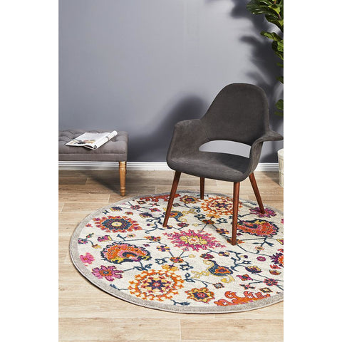 Selje 608 Multi Colour Transitional Bohemian Inspired Round Rug - Rugs Of Beauty - 1