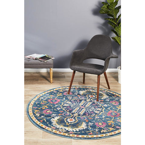 Selje 609 Navy Blue Pink Multi Colour Transitional Bohemian Inspired Round Rug - Rugs Of Beauty - 1