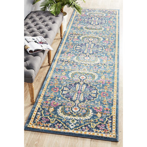 Selje 609 Navy Blue Pink Multi Colour Transitional Bohemian Inspired Runner Rug - Rugs Of Beauty - 1