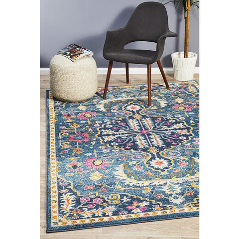 Selje 609 Navy Blue Pink Multi Colour Transitional Bohemian Inspired Rug - Rugs Of Beauty - 1