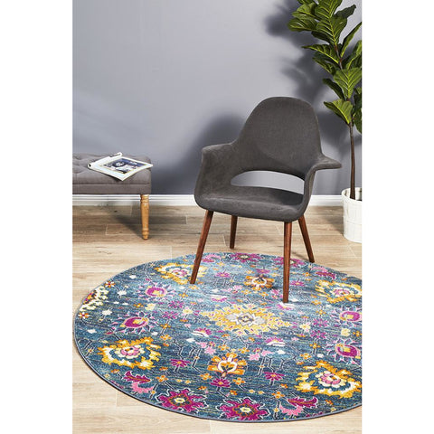 Selje 610 Blue Rust Pink Transitional Bohemian Inspired Round Rug - Rugs Of Beauty - 1