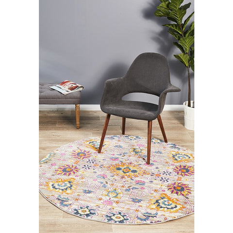 Selje 610 Multi Colour Abstract Transitional Bohemian Inspired Round Rug - Rugs Of Beauty - 1