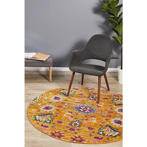 Selje 610 Rust Pink Multi Colour Transitional Bohemian Inspired Round Rug - Rugs Of Beauty - 1