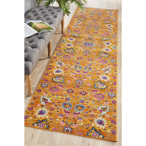 Selje 610 Rust Pink Multi Colour Transitional Bohemian Inspired Runner Rug - Rugs Of Beauty - 1