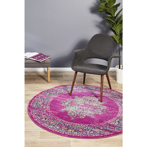 Selje 611 Fuchsia Multi Colour Transitional Bohemian Inspired Round Rug - Rugs Of Beauty - 1