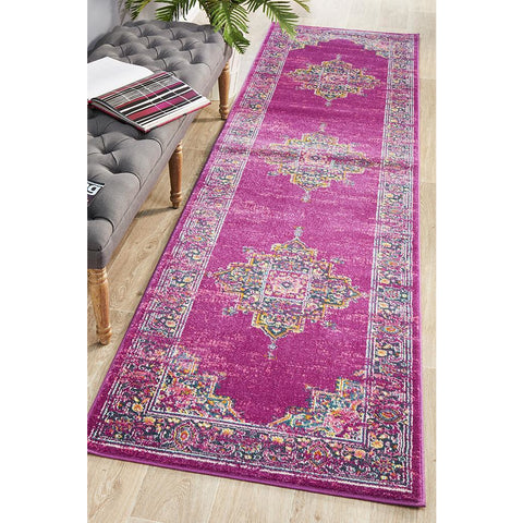 Selje 611 Fuchsia Multi Colour Transitional Bohemian Inspired Runner Rug - Rugs Of Beauty - 1