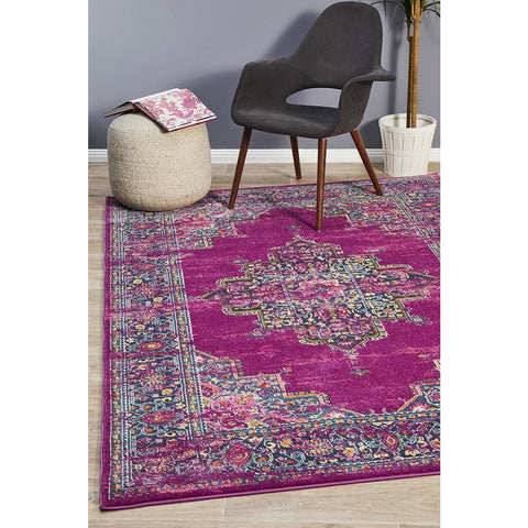 Selje 611 Fuchsia Multi Colour Transitional Bohemian Inspired Rug - Rugs Of Beauty - 1