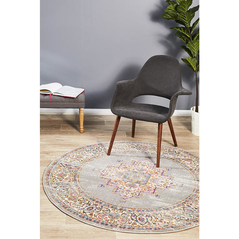 Selje 611 Grey Multi Coloured Transitional Bohemian Inspired Round Rug - Rugs Of Beauty - 1