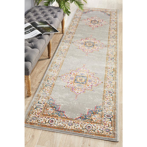 Selje 611 Grey Multi Colour Transitional Bohemian Inspired Runner Rug - Rugs Of Beauty - 1