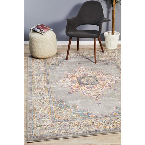Selje 611 Grey Multi Coloured Transitional Bohemian Inspired Rug - Rugs Of Beauty - 1