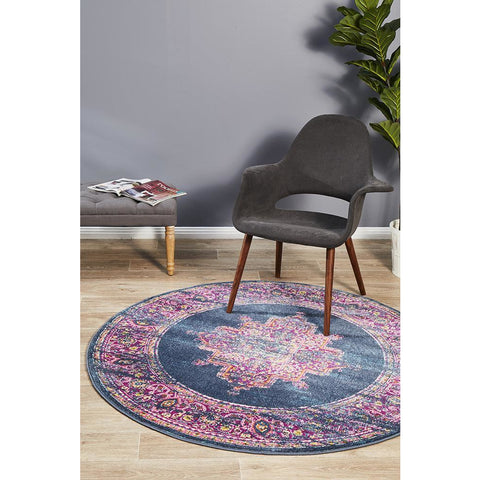 Selje 611 Navy Blue Multi Colour Transitional Bohemian Inspired Round Rug - Rugs Of Beauty - 1