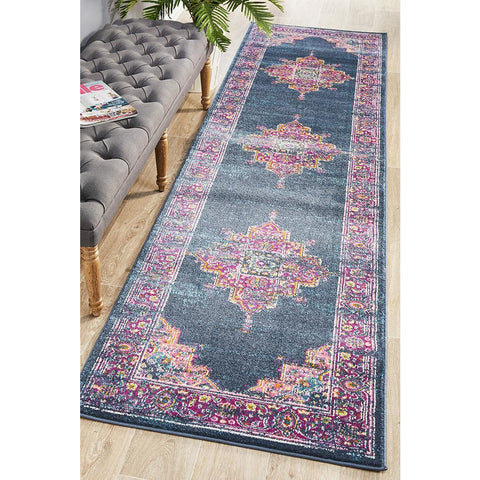 Selje 611 Navy Blue Multi Colour Transitional Bohemian Inspired Runner Rug - Rugs Of Beauty - 1