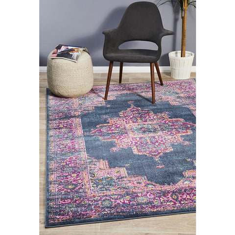 Selje 611 Navy Blue Multi Colour Transitional Bohemian Inspired Rug - Rugs Of Beauty - 1