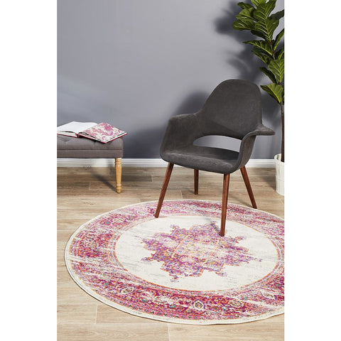 Selje 611 Pink Multi Colour Transitional Bohemian Inspired Round Rug - Rugs Of Beauty - 1