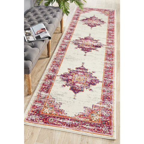 Selje 611 Pink Multi Colour Transitional Bohemian Inspired Runner Rug - Rugs Of Beauty - 1
