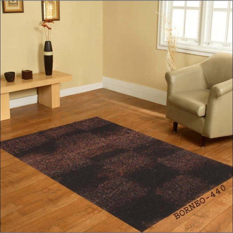 Hand Knotted Plush Shaggy Polyester Borneo Chocolate Brown Rug - Rugs Of Beauty