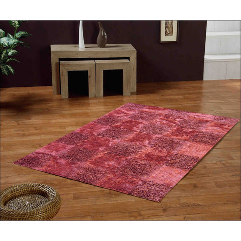 Handknotted Polyester Shaggy Borneo Terracotta 421 Red Pink Rug - Rugs Of Beauty - 1