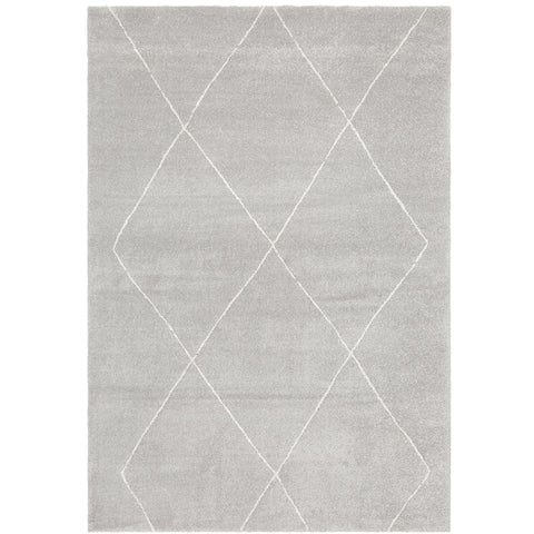 Boden 781 Silver Grey Contemporary Plush Geometric Rug - Rugs Of Beauty - 1