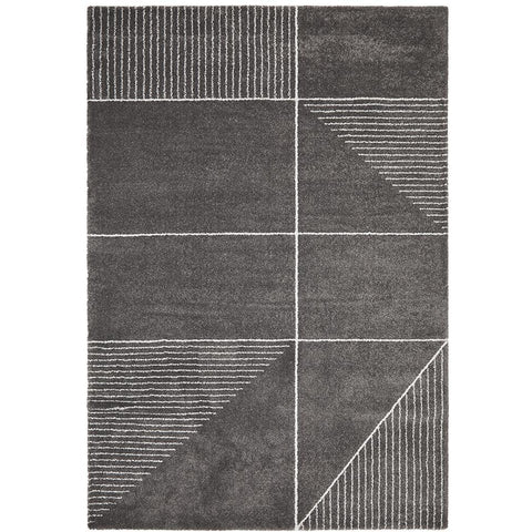 Boden 785 Charcoal Grey Contemporary Plush Geometric Rug - Rugs Of Beauty - 1