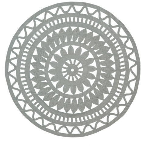 Abakan Grey Almond Ornate Indoor Outdoor Round Rug