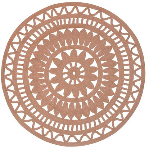 Abakan Peach Pink Ornate Indoor Outdoor Round Rug - Rugs Of Beauty