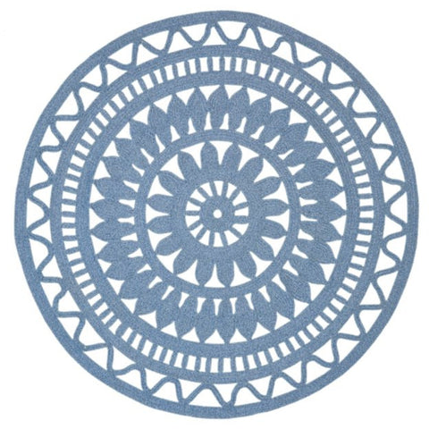 Abakan Sterling Blue Ornate Indoor Outdoor Round Rug