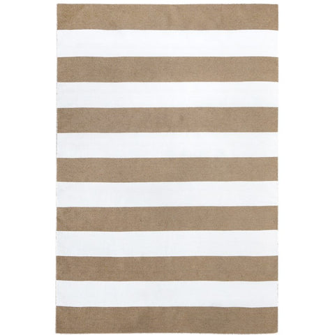 Maahes Indoor Outdoor Contemporary Beige and White Striped Rug - Rugs Of Beauty