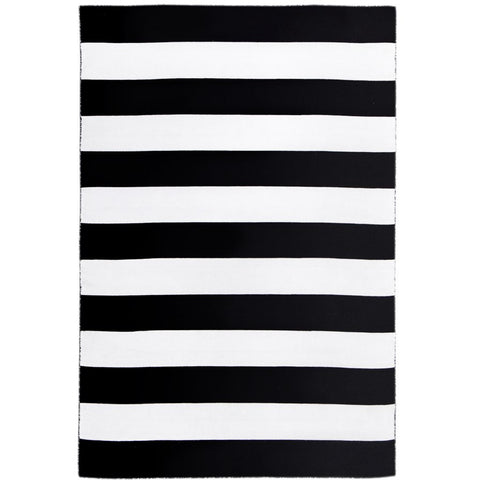 Maahes Indoor Outdoor Contemporary Black and White Striped Rug