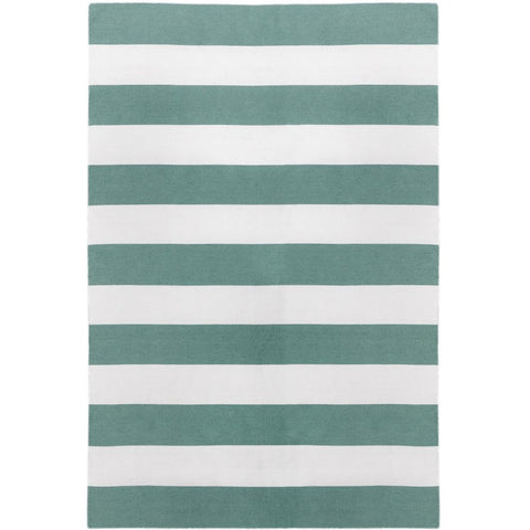 Maahes Indoor Outdoor Contemporary Green and White Striped Rug