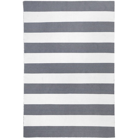 Maahes Indoor Outdoor Contemporary Grey and White Striped Rug