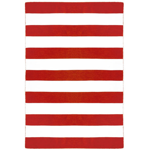 Maahes Indoor Outdoor Contemporary Red Orange and White Striped Rug
