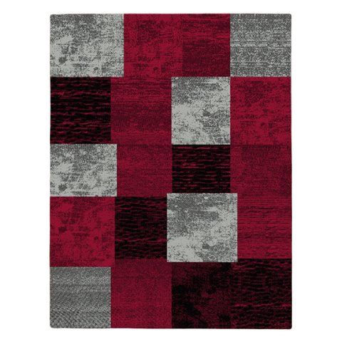 Grantham 1475 Red Black Grey Patterned Modern Rug - Rugs Of Beauty - 1