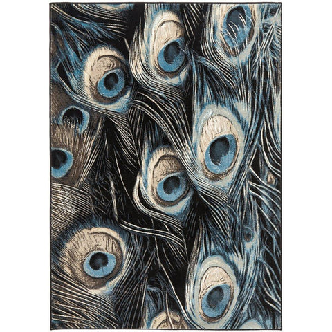 Denzel Navy Light Blue Peacock Feathers Modern Rug - Rugs Of Beauty - 1