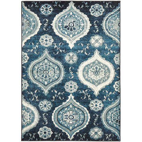 Denzel Navy Blue White Palace Patterned Modern Rug - Rugs Of Beauty - 1